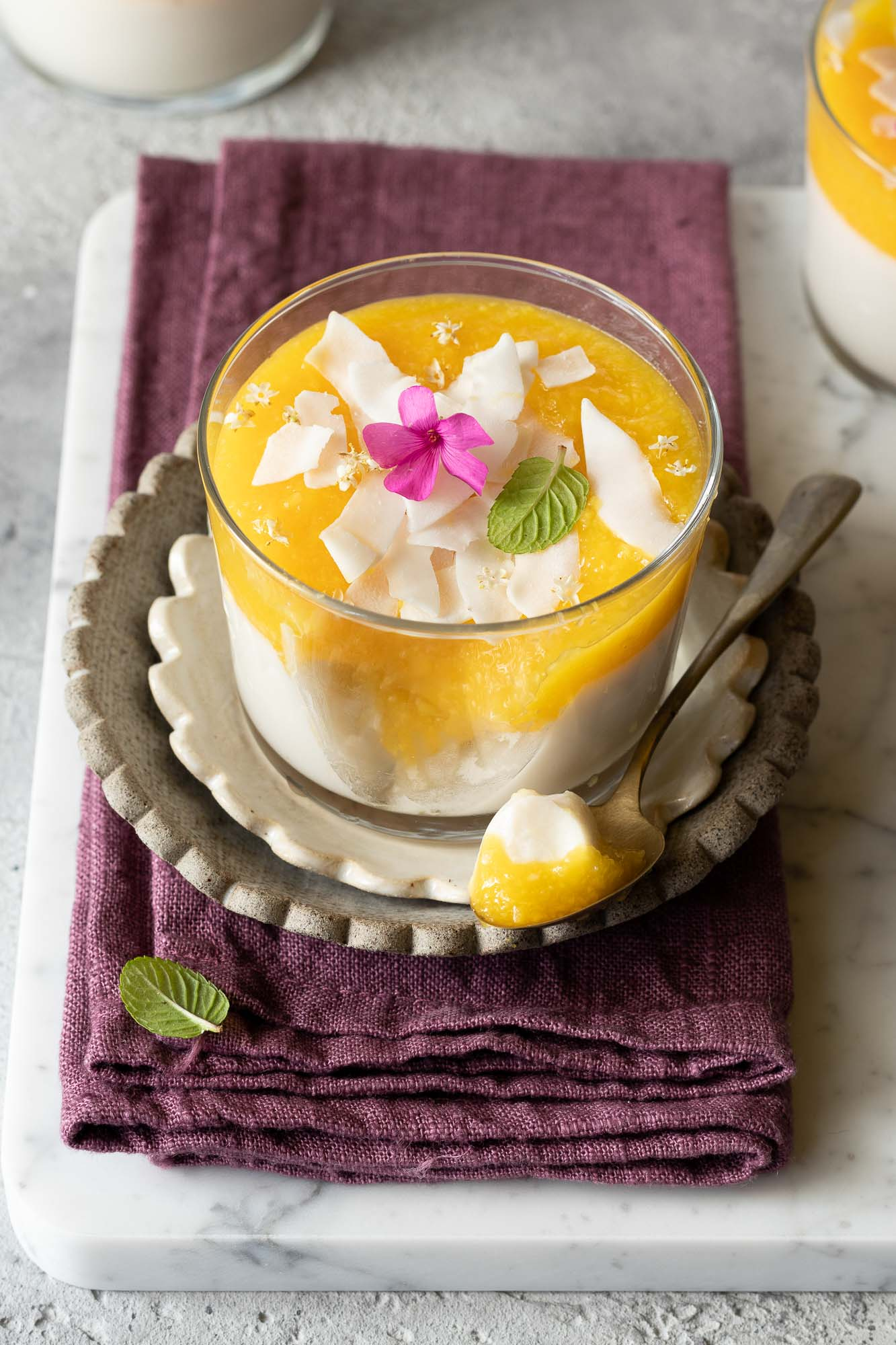 Panna cotta veg cocco e mango